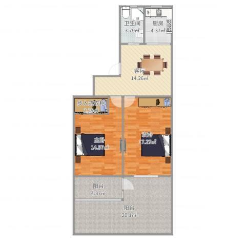 航华一村2室1厅1卫1厨102.00㎡户型图