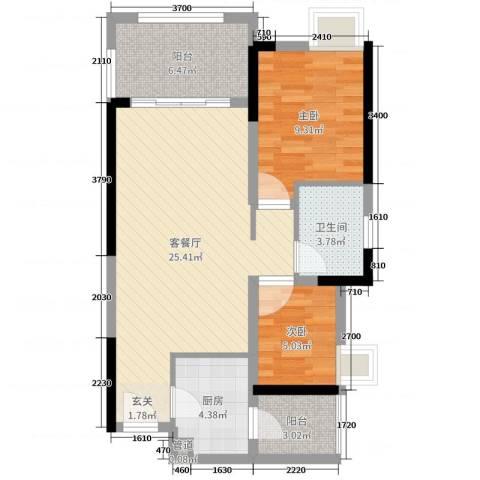 金科公园王府2室2厅1卫1厨69.00㎡户型图