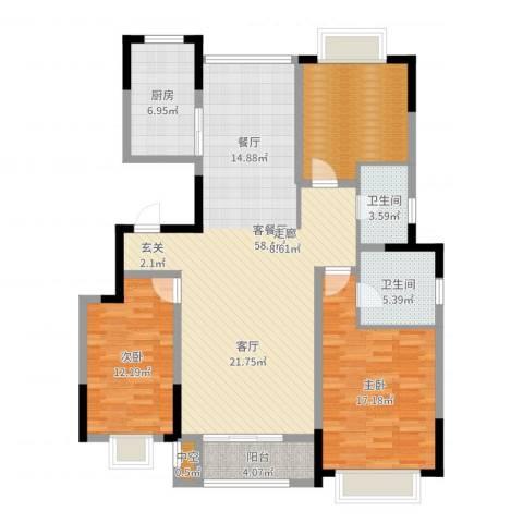 中惠卡丽兰2室2厅2卫1厨135.00㎡户型图