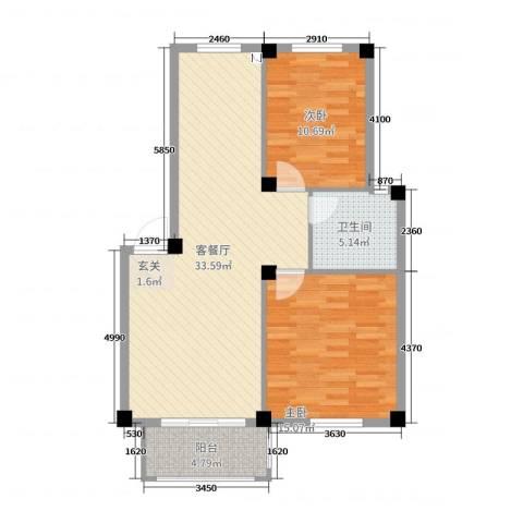 滨江丽景2室2厅1卫0厨89.00㎡户型图