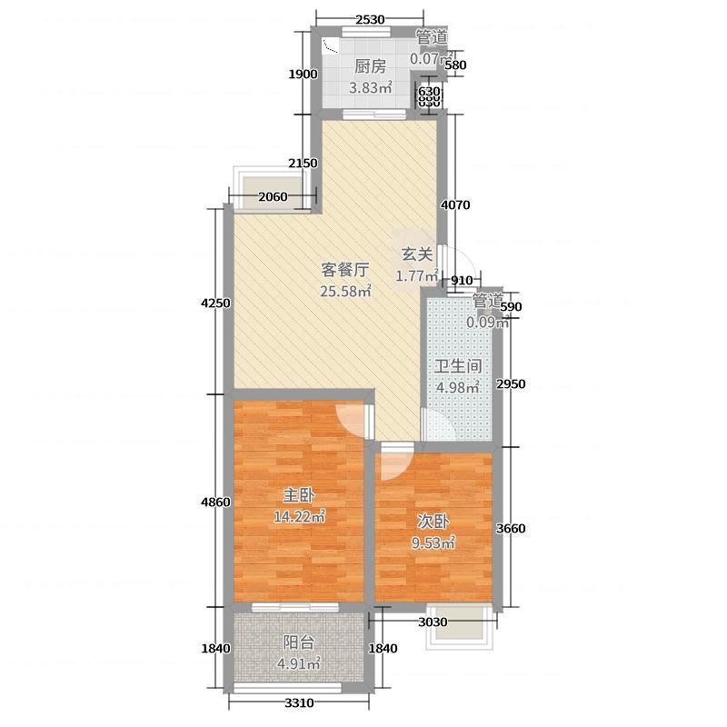 暨阳景江花园80.00㎡A1户型2室2厅1卫1厨