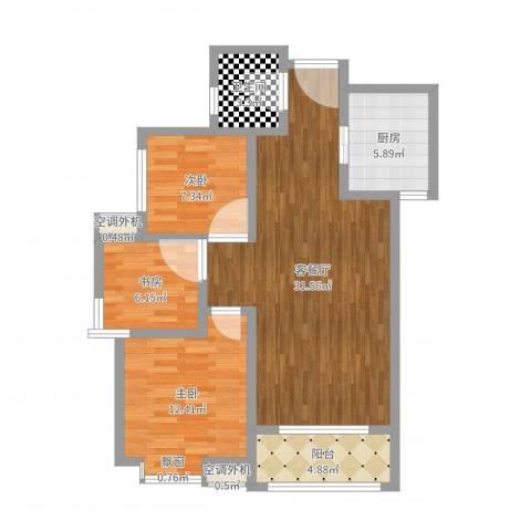 天香心苑3室2厅1卫1厨91.00㎡户型图