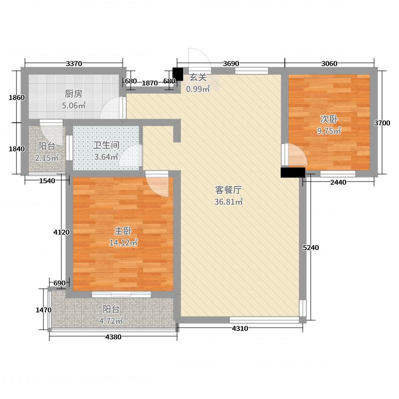 鑫盛・公园1号94.23㎡C户型2室2厅1卫1厨