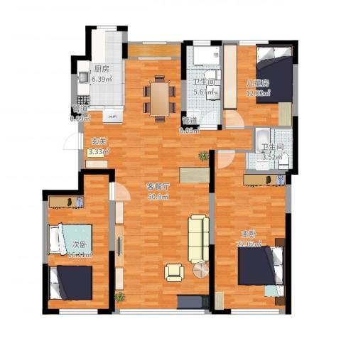 一品红城五期3室2厅2卫1厨148.00㎡户型图