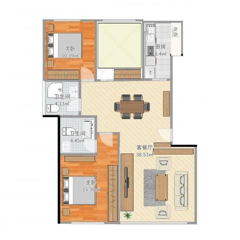 金碧新城2室2厅2卫1厨99.00㎡户型图