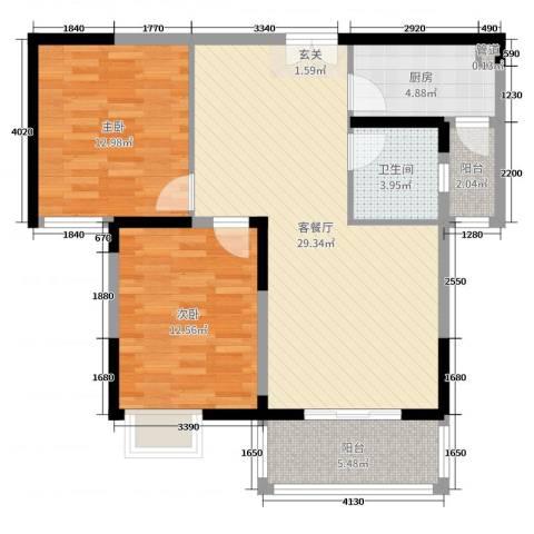 御天城跃龙苑2室2厅1卫1厨89.00㎡户型图