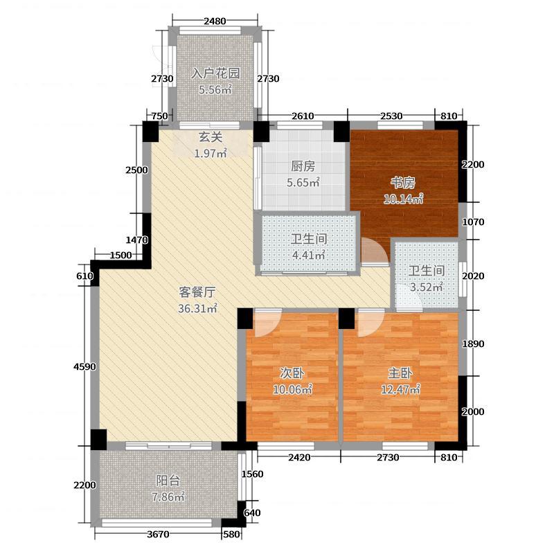 中央美地120.00㎡户型3室3厅2卫1厨