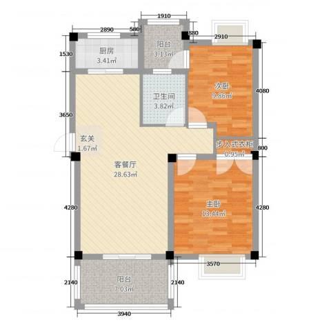 香山听泉2室2厅1卫1厨70.28㎡户型图