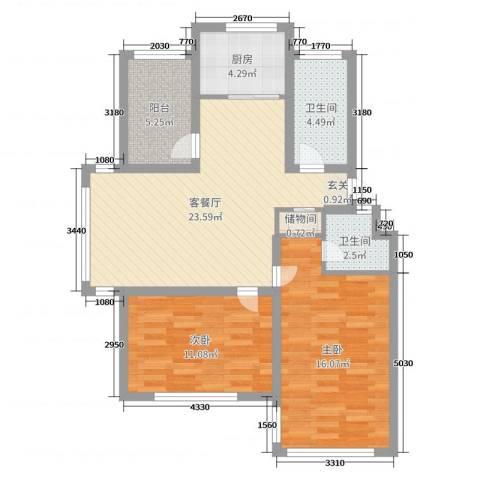 海阳海天景苑2室2厅2卫1厨85.00㎡户型图