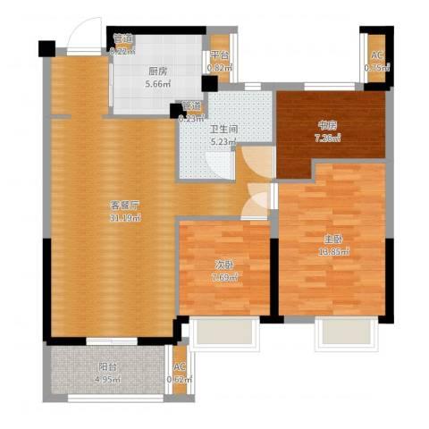 万科龙湾花园3室2厅3卫4厨98.00㎡户型图