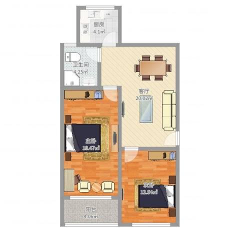 玉兰小区2室1厅1卫1厨79.00㎡户型图