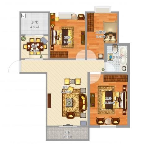南京信息工程大学3室2厅1卫1厨86.00㎡户型图