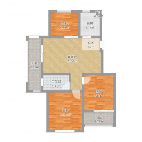 嘉盛龙庭3室2厅1卫1厨93.00㎡户型图