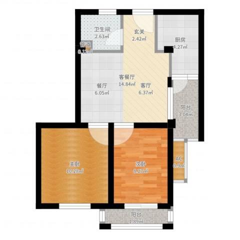 湖滨1号2室2厅1卫1厨58.00㎡户型图