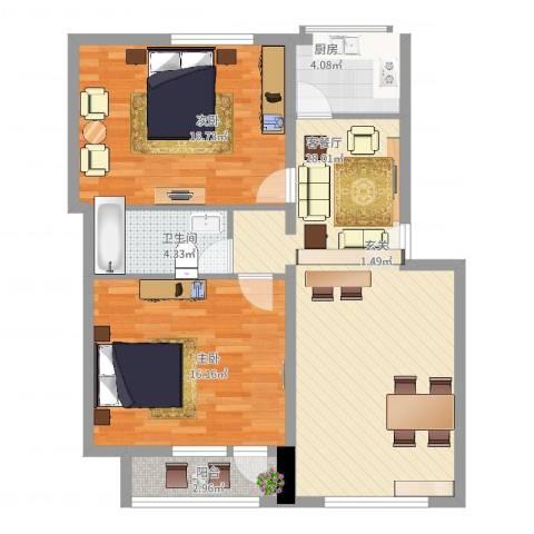 正安花园2室2厅1卫1厨102.00㎡户型图
