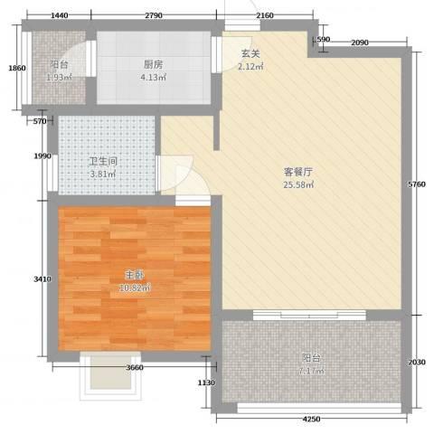 青羊新城1室2厅1卫1厨67.00㎡户型图