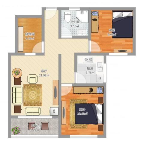 祥腾新领寓公寓2室1厅1卫1厨71.00㎡户型图