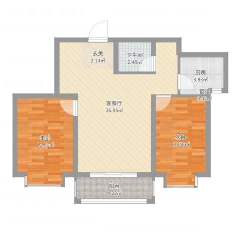 锦绣鹏城2室2厅1卫1厨75.00㎡户型图
