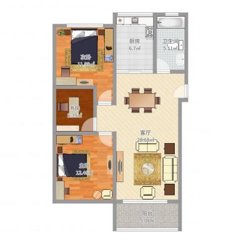 华亭新家百合苑3室1厅1卫1厨94.00㎡户型图