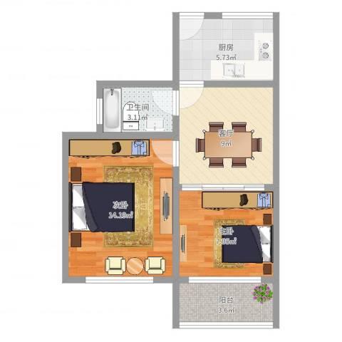 保平小区2室1厅1卫1厨54.00㎡户型图
