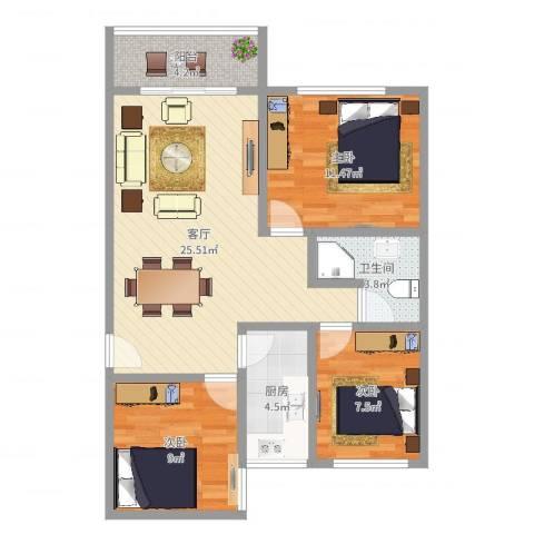 晓港湾3室1厅1卫1厨82.00㎡户型图