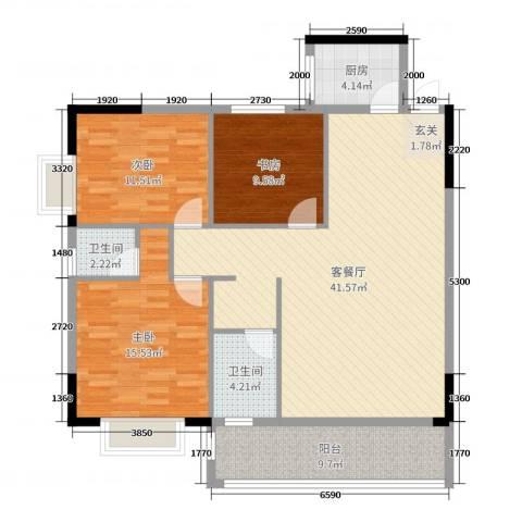 德雅园3室2厅2卫1厨113.00㎡户型图