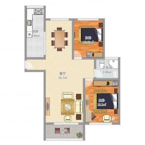 金沙嘉年华2室1厅1卫1厨95.00㎡户型图
