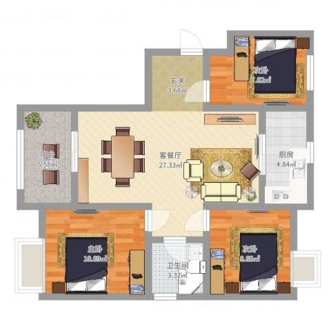 太平洋森活广场3室2厅1卫1厨85.00㎡户型图