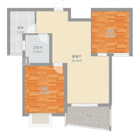 九九园2室2厅1卫1厨80.00㎡户型图