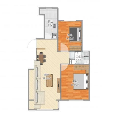 天房海天园2室1厅1卫1厨93.00㎡户型图