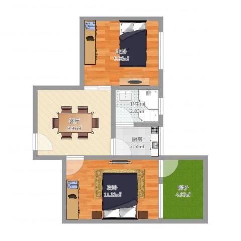 东礁二村2室1厅1卫1厨52.00㎡户型图