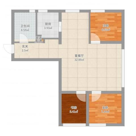 银帆国际3室2厅1卫1厨76.00㎡户型图