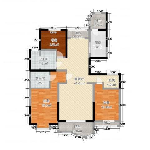 千禧御东画卷3室2厅2卫1厨121.04㎡户型图