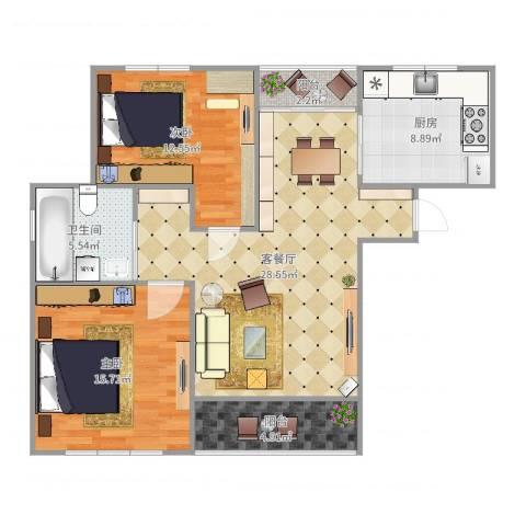 莲花公寓(闵行)2室2厅1卫1厨98.00㎡户型图