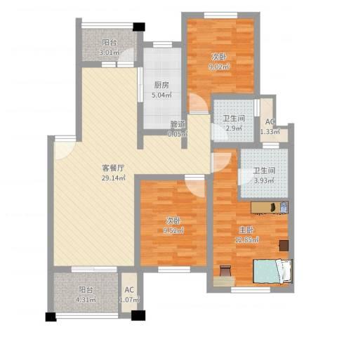 陆宇中央郡3室2厅2卫1厨82.18㎡户型图
