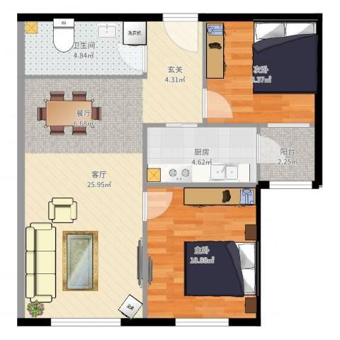 首创・悦都汇2室1厅1卫1厨71.00㎡户型图