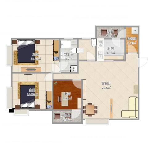 保利丰花园3室2厅1卫1厨93.00㎡户型图