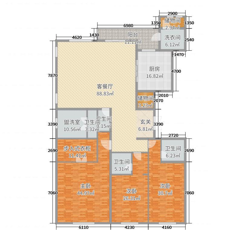 南湖玖�院239.12㎡1、4、2、3、6号楼3套房系A户型3室3厅4卫1厨