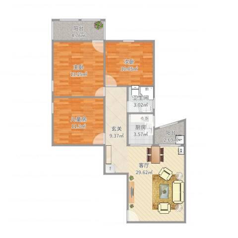普晖村3室1厅1卫1厨98.00㎡户型图