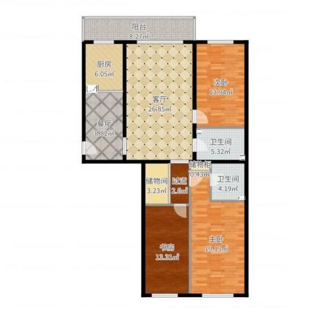 天通苑北一区3室2厅2卫1厨142.00㎡户型图