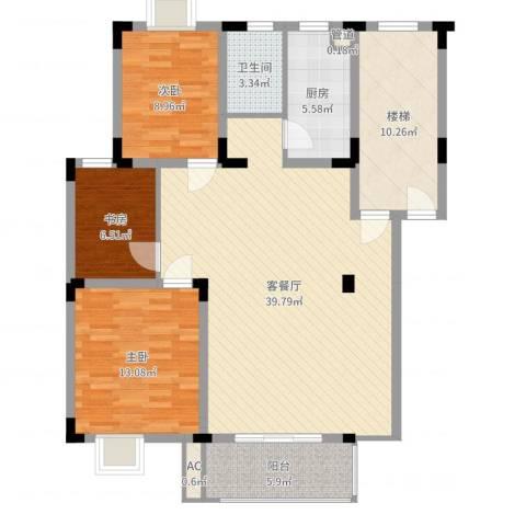 名邦锦绣年华3室2厅1卫1厨118.00㎡户型图