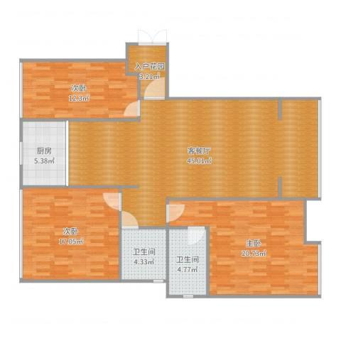伴山御景3室2厅2卫1厨141.00㎡户型图