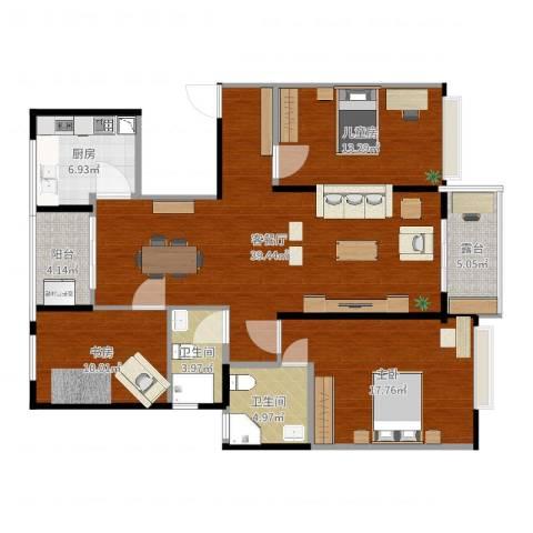 万达西双版纳国际度假区3室2厅2卫1厨132.00㎡户型图