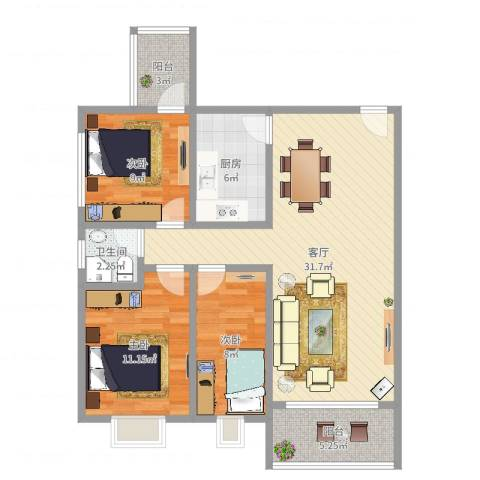 天一新村3室1厅1卫1厨95.00㎡户型图