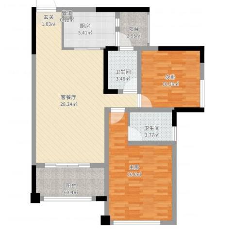 三江国际丽城C区澜岸2室2厅2卫1厨111.00㎡户型图