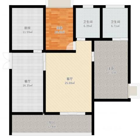 友邦皇家公馆2室2厅2卫1厨133.00㎡户型图