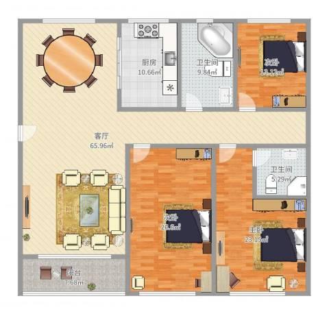 新水桥公寓3室1厅2卫1厨203.00㎡户型图