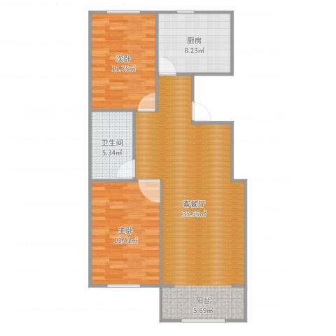 富力城2室2厅1卫1厨93.00㎡户型图