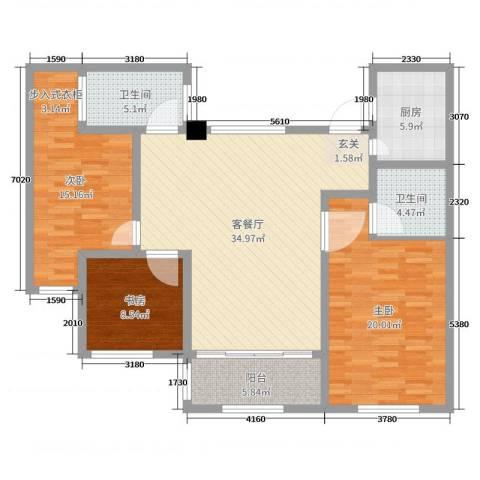 御庭园3室2厅2卫1厨125.00㎡户型图