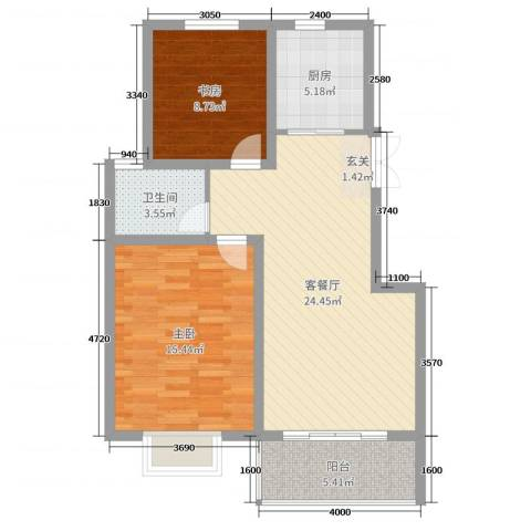 天明城2室2厅1卫1厨79.00㎡户型图